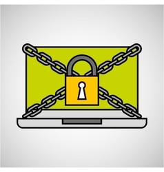 laptop security padlock with chain concept vector image
