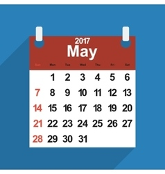 Leaf calendar 2017 with the month of May days vector