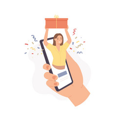mobile gift service woman holds gift box on phone vector image