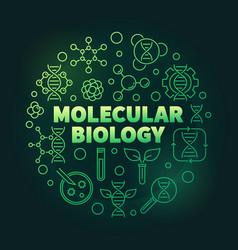 Molecular biology round green line vector