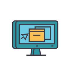 Monitor application design flat line vector