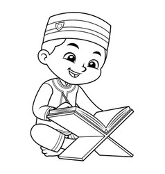 Moslem boy reading quran bw vector