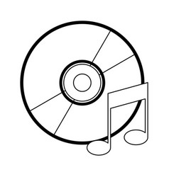 music cd rom with note symbol in black and white vector image