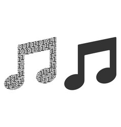 Music notes composition of binary digits vector