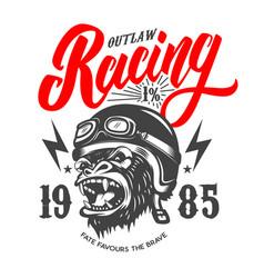 Outlaw racing emblem template with cartoon racer vector