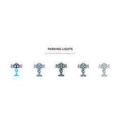 parking lights icon in different style two vector image