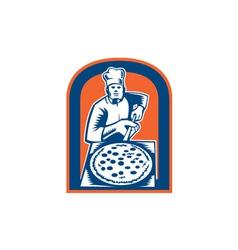 Pizza maker holding peel shield woodcut vector