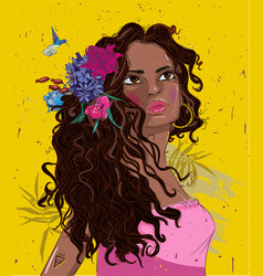 portrait beautiful black woman with flowers vector image