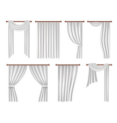 Realistic window curtains and drapes set vector