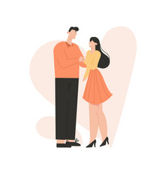Romantic couple holding hands actors playing vector