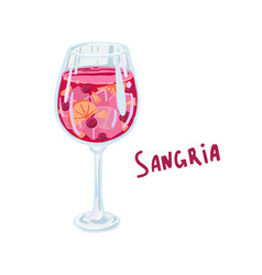Sangria wine glass with red wine and fruit vector