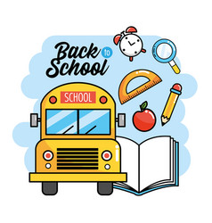 school bus with book and protractor to back school vector image