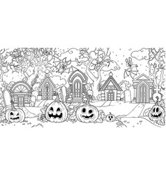 seamless background from scary old cemetery vector image
