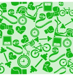 Seamless pattern fitness Monochrome green vector image