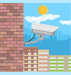 security cameraon wall surveillance remote camera vector image