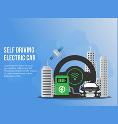 self driving electronic car concept design vector image