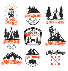 set mountain camp emblems outdoor tourism vector image