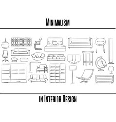 set of 25 items minimalism in interior design vector image