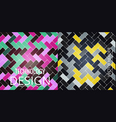 set of abstract geometric seamless color vector image
