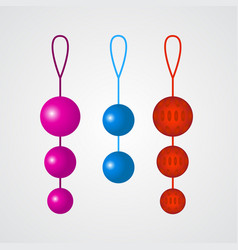 Set of colorful vaginal balls on a grey background vector