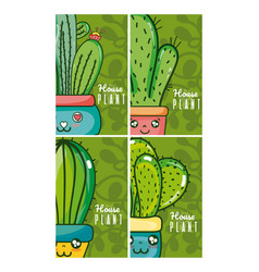 Set of cute houseplants cartoon cards on colorful vector