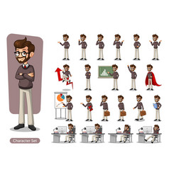 Set of hipster businessman cartoon character vector