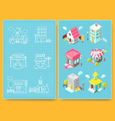 Set of isometric buildings with street elements vector