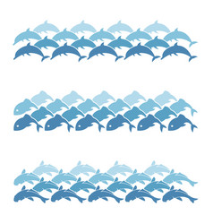 set of sea wave vector image
