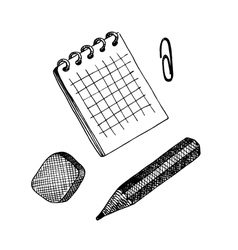 set of writing materials Sketch style vector image