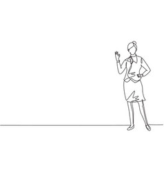 single one line drawing flight attendant stands vector image