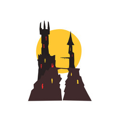 sinister castle with full moon at night vector image