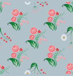 Slavic diagonal seamless pattern of fairy flowers vector