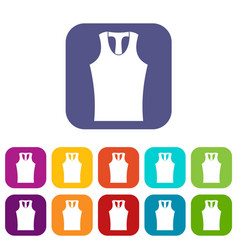 Sleeveless shirt icons set flat vector