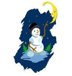 Stock snowman and moon vector
