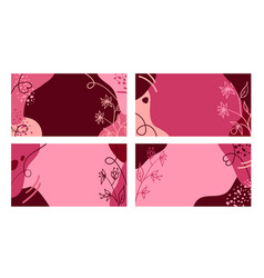 summer pink banners with hand drawn flowers vector image