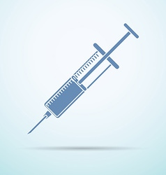 syringe flat icon with shadow on blue background vector image