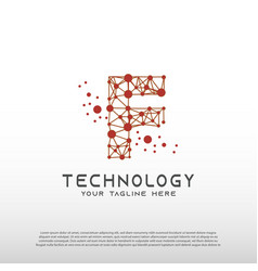 Technology logo with initial f letter network vector