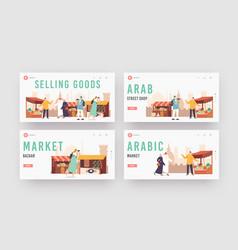 Travelers people visit arabic market landing page vector