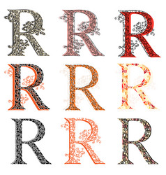 various combination fishnet letter r vector image