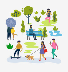 Various people at park outdoor activities vector