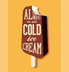 vintage ice cream phrase advertising poster vector image