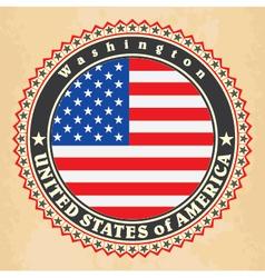 Vintage label cards of USA flag vector image
