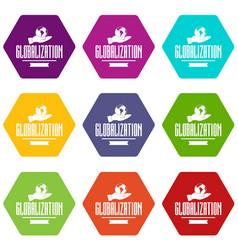 Web globalization icons set 9 vector