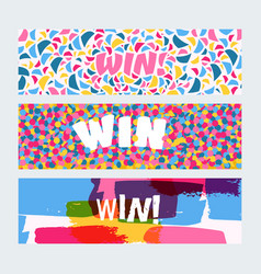 win sign with bright confetti watercolor brush vector image