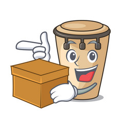 With box conga character cartoon style vector