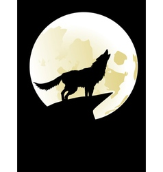 Wolf howling at moon2 vector