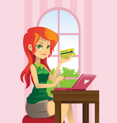 Woman online shopping vector