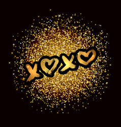 Xoxo hand written phrase on gold glitter confetti vector