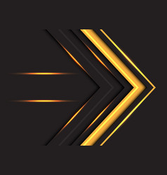 Yellow light arrow direction on dark grey vector