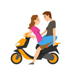 Young couple in love sitting on motorbike vector